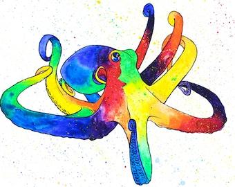 Rainbow Watercolor Print - Octopus