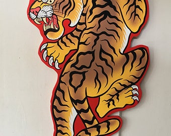 Hand Painted Tattoo tiger  Sign