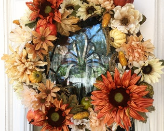 Fall wreath, wreath, front door wreath, entryway decor, fall decorations, sunflower wreath, orange wreath