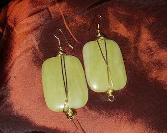 Wire Wrapped Jade Earrings