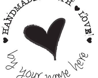 Branding Wood Mounted Rubber Stamp Handmade with Love Heart 50mm x 50mm