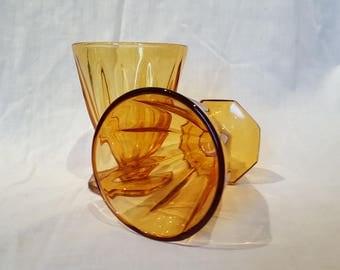 Vintage Amber Glass Dessert Sundae Ice Cream Footed Glasses set of 4