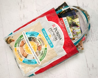 Feed Bag Upcycled - Feed Bag Tote - Grocery Bag - Reusable Shopping Bag - Market Tote - Purina Chicken Feed Bag - Beach Bag - Book Bag