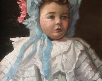 Edwardian Era Baby - Oil on Canvas Original Painting