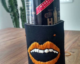 Custom Embroidered Drink Cozy - Bronze Mouth