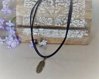 Double necklace rope Navy Blue faux suede with antique bronze feather pendant