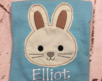 Boys Easter Bunny Raggy Applique with name Toddler and Youth size FREE SHIPPING