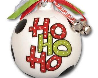 Ho Ho Ho Ceramic Ball Christmas Ornament