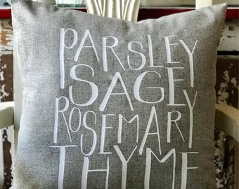 Parsley Sage Rosemary & Thyme Linen Pillow