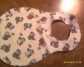 patriotic owl baby bib, red, white and blue, soft, cloth