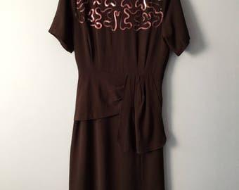 Vintage Brown 1940's sequin dress