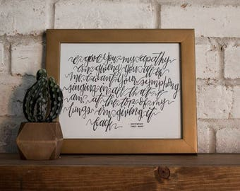 I Give You My Apathy // Switchfoot // Only Hope // Hand-lettered Digital Print // Printable