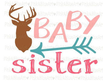 Baby sister deer SVG Clipart Cut Files Silhouette Cameo Svg for Cricut and Vinyl File cutting Digital cuts file DXF Png Pdf Eps