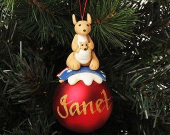 Kangaroo Character Personalised Red Christmas Decoration