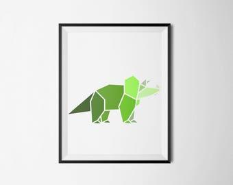 Green,dinosaur, wall art, children's room, minimal, boys room, girls room, triceratops, shades of green, artwork