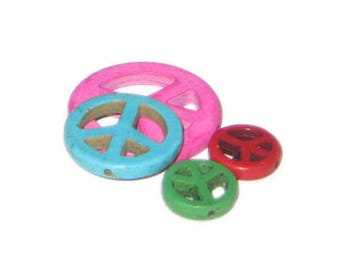 Approx. 1oz. Peace Sign Dyed Turquoise Charms
