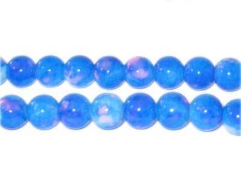 8mm Marble-Style Turquoise Glass Bead, approx. 52 beads