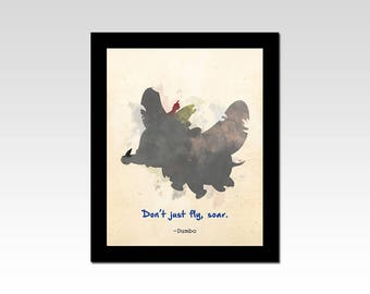 "Dumbo inspired ""Don't Just Fly, Soar"" watercolour effect print"
