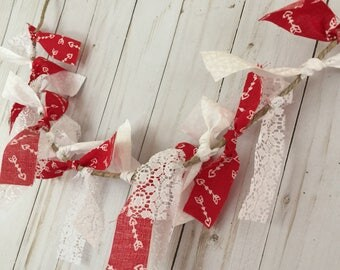 Valentine Rag Tie Banner - Red and White Fabric Garland - Lace Valentine Decor - Shabby Chic Valentine Decor - Hearts and Arrows