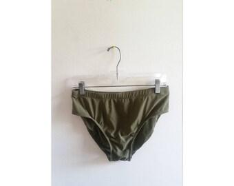 Vintage 1980s 80s Olive Green Solid Minimalist High Waist Swimsuit Bikini Bottom Bathing Suit Sz 16 XL Plus Size