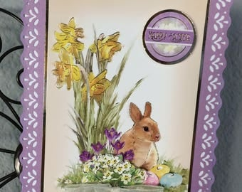 Easter Card, Easter blessings, cute bunny Easter card, spring Easter card, spring floral, gold foil accents