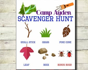 Camp Birthday - Scavenger Hunt card