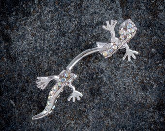 1.6mm (14g) 316L Surgical Steel Jewelled Gecko Belly Bar