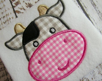 applique cow machine embroidery instant download design, baby cow, nursery rhyme cow, baby cow, cute embroidery baby cow