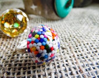Sprinkle Ring, Sprinkle Jewelry, Sprinkle Gifts, Sparkle Ring, Glitter Ring, Glitter Jewelry, Resin Jewelry, Resin Ring