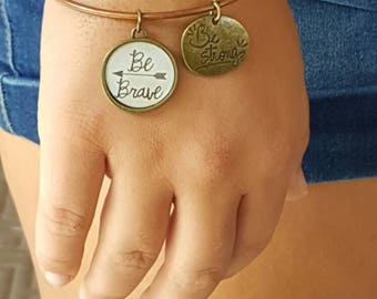 Beautiful copper bracelet with be brave and be amazing Bangles