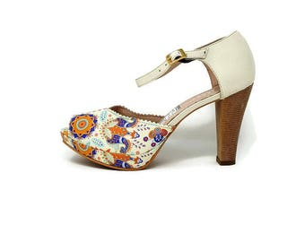 Medellin Leather Shoes- Multi Colors Print Leather -High heels leather Sandals - Pep toe Women Sandals -Ankle Strap- Genuine Leather