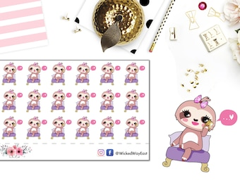 Cute Sloth Appointment Planner Sticker, Make a Phone Call Sticker, Phone Meeting Stickers, Cute Kawaii Sloth Sticker, Planner Accessory
