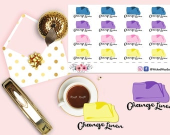 Change Linens Chore Reminder Sticker 2, Reminder Planner Stickers, Chore Stickers, Scrapbook Sticker, Planner Accessory - 16 Stickers