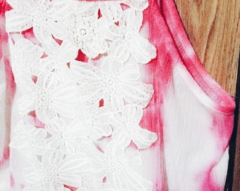 Hand dyed pink and white top with lace accent