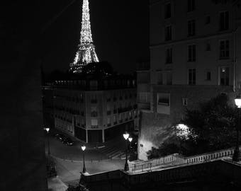 Poster Eiffel Tower black and white matte finish photo paper