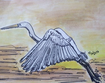 Great egret/heron flying - original watercolour