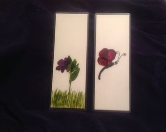 Dried Floral Art Bookmarks (set of 2)