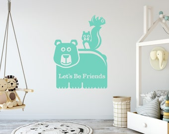 Let's Be Friends Wall Decal with Bear, Squirrel, Bird - Kids Vinyl Wall Art