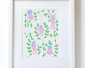 STILL GROWING AFFIRMATIONS A5 Digital Print Self Love Care Acceptance Body Positive Plants Growth Feminist Feminism Woman Art Illustration
