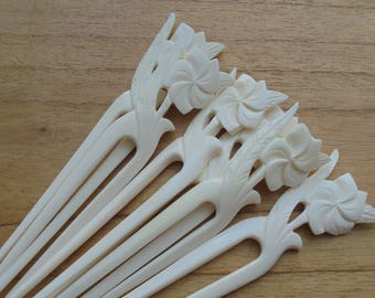 Flower Bone Hair Sticks, Hair Pin, Hair Fork, 2 Prongs Hair Accessories HS47
