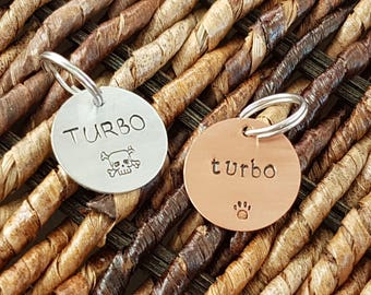 """hand stamped pet ID tag in copper or aluminum (3/4"""")"""