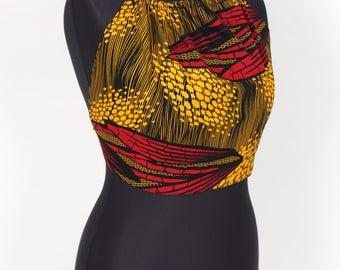 Dede red and orange African print halter neck boho style summer crop top
