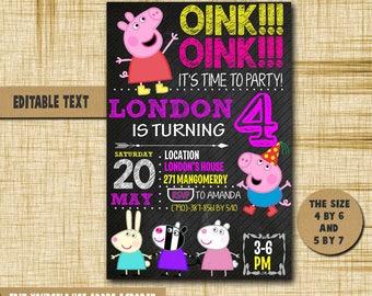 Peppa pig Invitation,Peppa pig Birthday,Peppa pig Birthday Invitation,Peppa pig PDF editable text,Peppa pig invite,Peppa pig,Peppa pig card