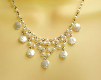 Elegant Bridal Pearl Bib Necklace, REAL Pearl Statement Necklace Sterling Silver, Statement Bib Necklace for Bride