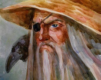 Odin Wotan Druid All father Fantasy art PRINT Pagan Art Yggdrasil Watercolor Asatru painting Viking art Norse mythology Viking gifts heathen