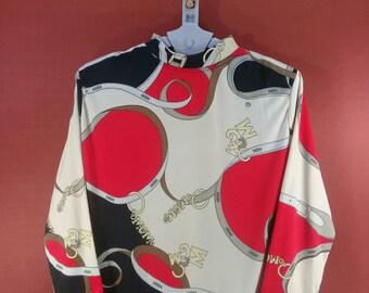 Vintage Royalty Baroque Shirt Kmitsuyo Abstract Shirt Multi Colour Issey Miyake Comme des Garcons Shirt Designer Art Baroque Secratary Shirt