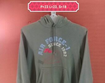 Vintage Nike Hoodie Sweatshirt Nike Air Force Shirt Green Colour Size M Hip Hop M Air Jordan Shirt Adidas Sweatshirt Supreme Sweatshirt