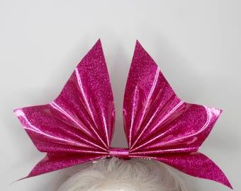 PINK BAT BOW - pvc - glitter