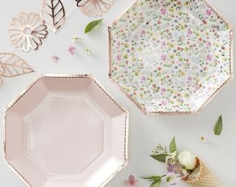 Rose Gold Foiled Floral Paper Plates, Floral Party Plates, Ditsy Floral,  Rose Gold Party, Pastel Party Plates, Birthday Plates, Tea Party