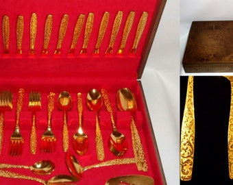 MID CENTURY Golden Scroll - Americana Golden Heritage  - 24k Gold Electroplate SERVICE for 12 - 68 pcs & Case